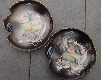 two 1950s dragonware trays - charity for animals