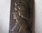 RESERVED for AMY...Antique Bronze Paperweight, Medallion Music Composer Fryderyk Chopin, Signed