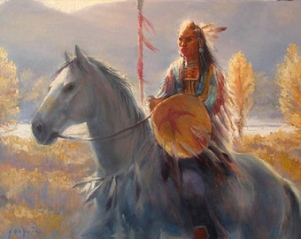 Proud Warrior Original  oil painting  18x14inches