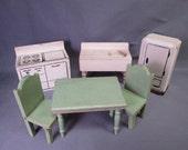 Vintage Miniature Kage Dollhouse Furniture - Kitchen Set - 3/4 Scale