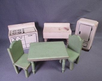 Vintage Miniature Kage Dollhouse Furniture - Kitchen Set - 3/4 Scale