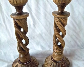 Vintage Wooden Import Olive Wood Ornate Candle Sticks Vintage Jeweled Home Decor Vintage Home and Living Vintage Candle Display Vintage Set