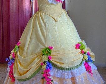 1800s Victorian Gown - 1850s 1860s Ball Dance Dress - Civil War Ballgown - Yellow moire Taffeta - White Lace - Flowers Lavender Pink Green