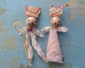 Vintage Spun Cotton Chenille Easter Bunny Couple Japan