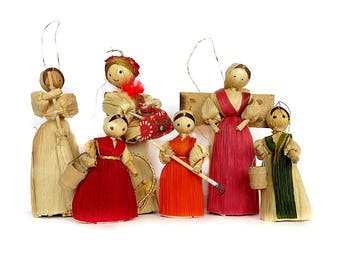 6 Corn Husk Dolls Christmas Ornaments Vintage 1970s-80s Handmade and Assembled Country Holiday Decor