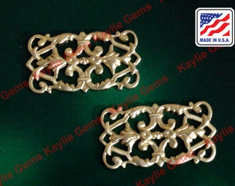 Filigree Stamping Floral Victorian Baroque 4 Way Connector Victorian USA -G5451- 2pcs