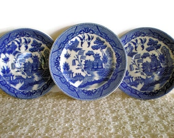 3 Vintage Blue Willow Saucers, Japanese Decor, Rustic Country Kitchen, Cobalt Blue and White Saucers, Made in Japan, 1960s Dishes