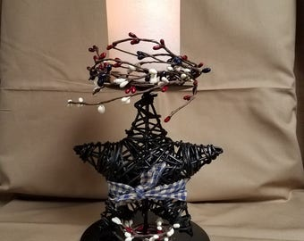 Black Metal Star Pillar Candle Holder