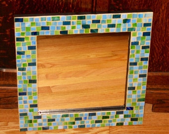Blue and Green Mosaic Mirror