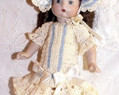 "RESERVED SPECIAL ORDER Doll Dress, Bonnet & Knickers Set for 8"" All Bisque Doll in Hand Crochet 3pc Doll Clothing"