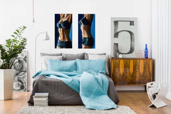 Female Figurative Sensual Bedroom Wall Art Limited Edition Giclee   Artwork  Titled Taut