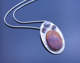 Wingate Plume, Grey Star Sapphire, Faceted Red Garnet Necklace, Professional Silversmithing Handmade Necklace