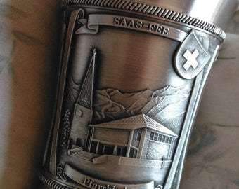 SALE Zinn Pewter Goblet, Original Swiss Monument Collection, Saas-Fee Germany, Church Museum, Metro Alpin