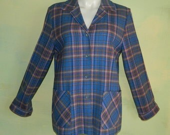 S M 60s Pendleton Knockabouts Shirt Jacket Blue Wool Plaid Scoop Pockets Made in the U.S.A. Glenplaid
