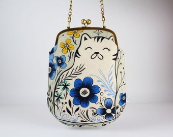 Frame purse with shoulder strap - Pennie in grey - Pennie handbag / Modern japanese fabric / Cotton and Steel / Wattsalot / Folk cat flowers
