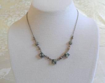 Silver Tone Teal Square Floral Vintage Signed N Necklace
