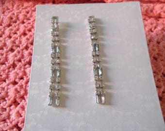 Clear Rhinestones Silver Tone Long Vintage Pierced Earrings