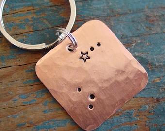 Zodiac Keychain,Aries Constellation,Copper Keychain,Zodiac Aries, Star Sign Keychain, Zodiac Gifts, Aries Astrology, Aries Gift, Unisex Gift