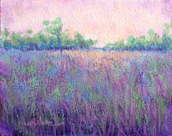 Modern Lavender Landscape, Contemporary Art, Lavender Field, Green Trees, Modern Art Print,  Blue Violet Colors, Modern Wall Decor, 8 x 10