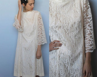 edelweiss -- vintage 1960s cream lace bell sleeve dress size M/L