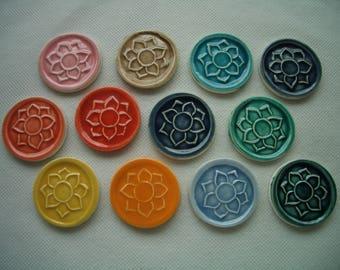 12LC  - LOTUS COINS - 12 pc FLOWER Stamped Tiles - Ceramic Mosaic Tiles