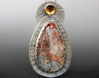 Crazy Lace Agate Pendant with Citrine Necklace Metalwork