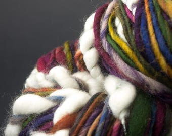 Un Balcon en Forêt, Mostly Merino, CoilSpun BeeHive Art Yarn, HandSpun HandDyed Yarn, 45 yards