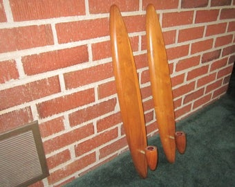 "Vintage PAIR of Danish Modern Walnut 24"" Wall Sconce Candle Holders"
