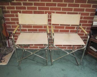 Vintage Italian Modernist Pair of Metal and Canvas Folding Deck Patio Chairs