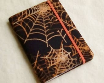 Batik Covered Pocket Memo Book, SPIDER WEB, Refillable Mini Composition Notebook Cover in Orange and Black