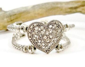 Silver Heart Cuff Bracelet, Double Strand, Silver Jewelry, Silver Bracelet, Women's Jewelry, Silver Heart