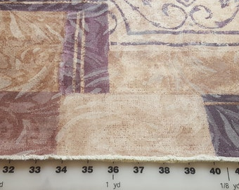 Upholstery weight Home dec Purples and Tan gold color blocks 2yd