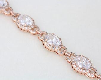 Rose Gold bracelet, Bridal bracelet, Crystal bracelet, Wedding jewelry, Bridesmaid bracelet, Wedding bracelet, Cuff bracelet, Oval crystal