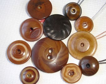 """Old and Vintage Vegetable Ivory Buttons - mostly """"Whistles"""" Buttons with different patterns"""
