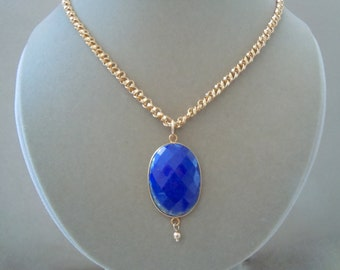 Lana -- Lapis and 14K Gold Filled Chain Focal Pendant necklace