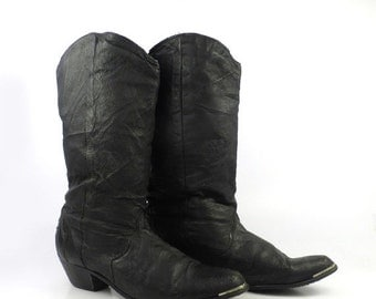 Black Leather Boots Vintage 1980s Short Slouch Cowboy Women's size 6 1/2