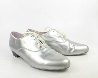 Silver Dance Shoes Vintage 1990s Glide USA Oxfords Women's size 8