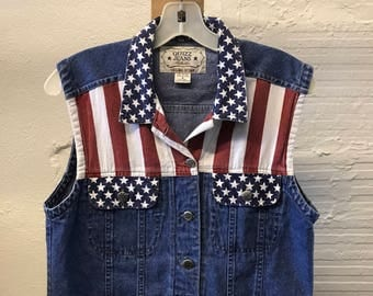 Jean Denim vest Vintage 1990s Cotton Blue American Flag Quizz Jeans size M