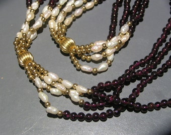 Vintage  Long Necklace . 10kt gold beads . Genuine Garnet . Culture Rice Pearls Jewelry