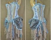 Blue bustle dress