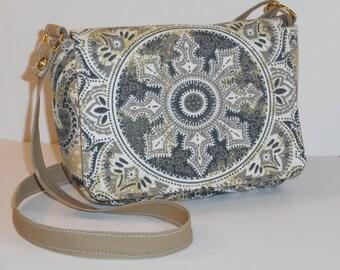 Purse Small Flap Shoulder Bag Crossbody Bag Mandala Paisley Tan Brown Black