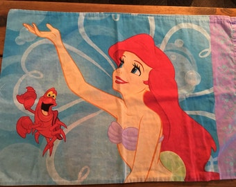 Arial My Little Mermaid Pillowcase Reclaimed Bed Linens Fabric Standard Size Pillow Case 20 x 30 Bedding Disney Cotton Polyester