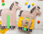 Horse Valentines Printable DIY Instant Download Fun Size Skittles or M&Ms Candy holders horse shaped Valentine's day cards for school kids