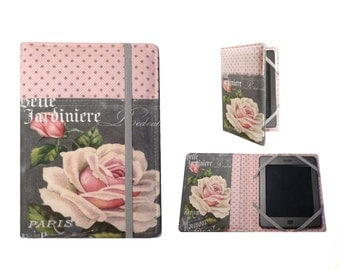 Kindle cover Hardcover, Kindle Paperwhite Cover,  (New Outside Pockets) Pink Shabby Rose