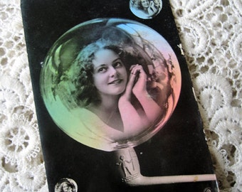 Antique photo montage postcard, girl in soap bubble photo postcard, rare photo montage postcard, Antique French Art Deco postcard