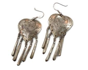 Heart Earrings, Boho Earrings, Vintage Earrings, Long Dangles, Pierced Earrings, Etched Silver, Boho Jewelry, Vintage Jewelry, Ethnic, Big