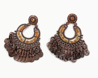 Boho Earrings, Vintage Rustic, Pierced Dangle, Festival, Bohemian, Tribal, Ethnic, Big Statement, Amber Beads, Large Exotic, Invintageheaven