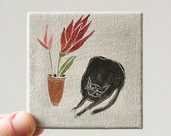flower cat / cat art, original small painting