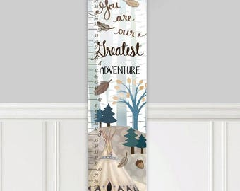 Canvas GROWTH CHART Adventure Woodland Navy Beige Kids Bedroom Nursery Personalized Kids Growth Chart Height Chart GC0316