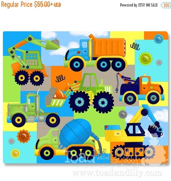 Spring SALE Lots of Trucks Bright Construction Patchwork Extra Large Stretched Canvas Children's Bedroom Wall Art CS0004